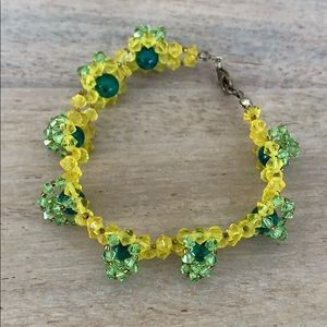 Handmade crystal bead green yellow bracelet